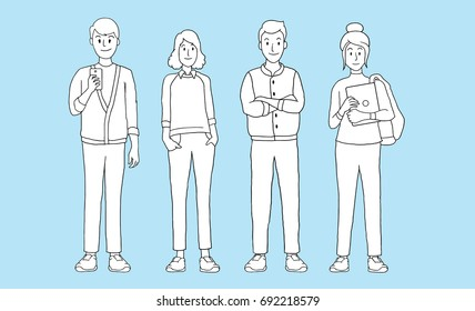 Group of young people students with gadgets on a blue background. isolated vector illustration outline hand drawn cartoon design character.