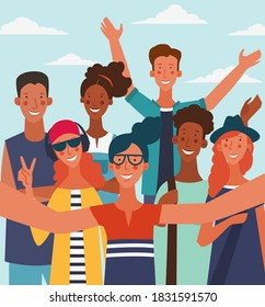 Group of young people taking a selfie and laughing. Eco friendly ecology concept. Nature conservation vector illustration. Holidays time, vacation, recreation and travel vector design