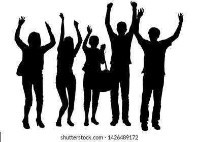 A group of young people tourists. Three girls and two guys in the summer stand tall, their hands raised up, welcoming and rejoicing at the meeting. Vector silhouettes