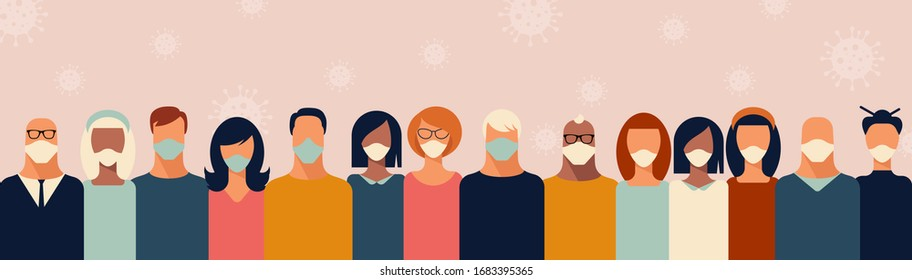 Group of Young People Wearing Medical Face Mask to Prevent Coronavirus Surrounded with Bacterial Air. Stay Home Be Safe. Vector Illustration of Covid-2019