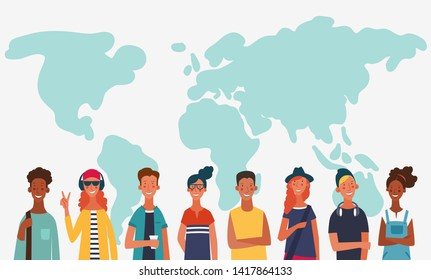 Group of young people with world map. Communication, teamwork and connection vector concept