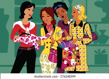 Group of young shopping girls