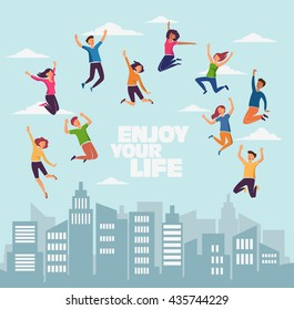 Group of young, smiling people jumping over city background with copy space. Stylish modern vector illustration with happy young men and women. Party, sport, dance and friendship team concept
