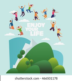 Group of young, smiling people jumping over mountain landscape with copy space. Stylish modern vector illustration with happy young men and women. Party, sport, dance and friendship team concept