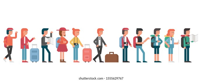 group of young travel people standing in queue with luggage, men and women on journey trip, passengers, tourists cartoon character flat vector illustration.
