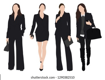 Group of young woman, wearing working outfit. Fashion style woman standing pose in white background set. - Vector