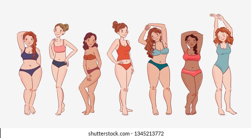 Group of young women of different heights, figure types and sizes dressed in swimsuits standing in a row. Body positive and beauty diversity vector concept