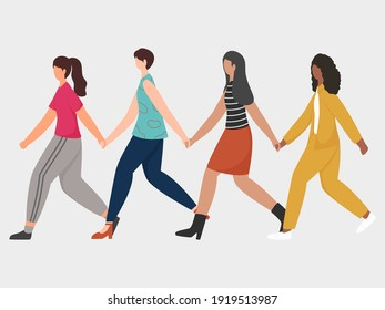 Group Of Young Women Holding Hands Each Other In Walking Pose.