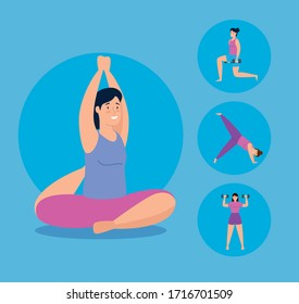 group young women practicing exercise vector illustration design