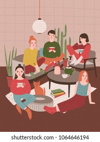 Group of young women sitting in room furnished in Scandinavian style, drinking tea and talking to each other. Girls spending time together at home. Hygge evening. Flat cartoon vector illustration.