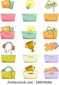 Grouped Illustration of Baskets Paired with Different Icons
