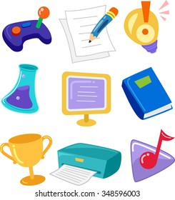 Grouped Illustration of Icons Related to Learning