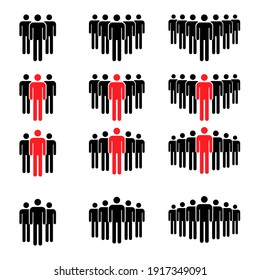 Grouping people collection flat icon isolated on white background. Teamwork symbol. Leadership vector illustration set