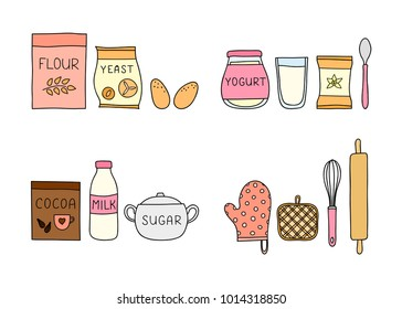 Groups of doodle colored baking ingredients isolated on white background.