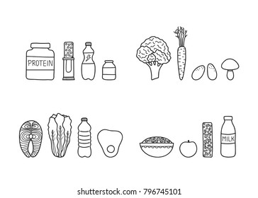Groups of doodle outline sport foods including protein, fruits, vegetables, supplements, cereals and fish isolated on white background.