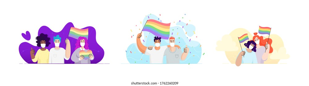 Groups of people on a pride parade wearing white medical face masks on an abstract background. - Shutterstock ID 1762260209