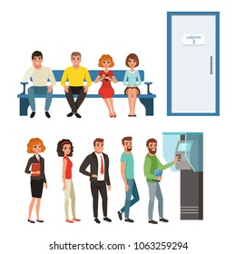Groups of people standing and sitting in queues near ATM and cabinet door. Cartoon characters of young men and women waiting their turn in line. Flat vector