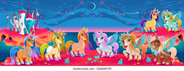 Groups of unicorns and pegasus in a fantasy landscape. Vector cartoon illustration