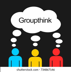 Groupthink - individuals have similar and same / identical ideas and thinking. Collective and united intellectual and psychological identity in the group. Conformity and deindividuation in the team