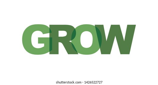 Grow business card text. Modern lettering poster. Color word art slogan icon. Phrases vector print design elements.