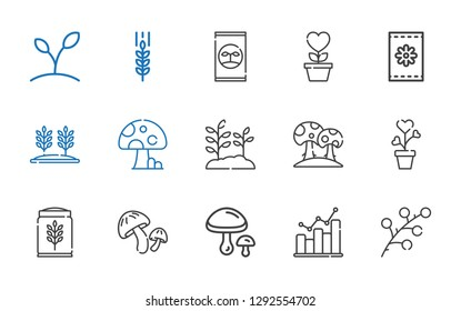 grow icons set. Collection of grow with branch, bar graph, mushrooms, mushroom, wheat, plant, seeds, growth, fertilizer. Editable and scalable grow icons.