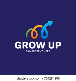 Grow Up logo design template. Vector schedule logotype illustration. Graphic colorful arrow icon for statistic company. Modern chart symbol sign isolated on background. Progress metric label analytics