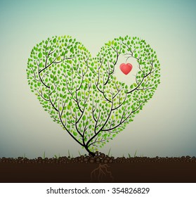 grow love, tree looks like heart creating from branch and leaves grow on soil with red heart inside, plat has feelings concept, healhy heart concept, herbal treatment,  plant alive, vector