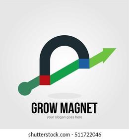 GROW MAGNET BUSINESS COMPANY LOGO TEMPLATE SYMBOL EMBLEM