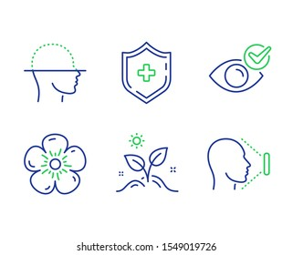 Grow plant, Natural linen and Medical shield line icons set. Face scanning, Check eye and Face id signs. Leaves, Organic tested, Medicine protection. Faces detection. Healthcare set. Vector