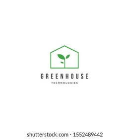 grow plants at home greenhouse logo icon sign template. Vector illustration