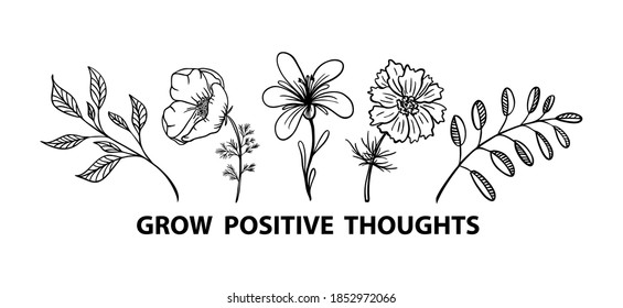 Grow positive thoughts flower vector print for shirt
