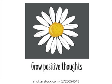 grow  positive thoughts lettering  daisy design