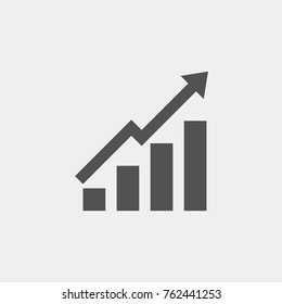Growing bar graph. Chart icon, Economic arrow go up