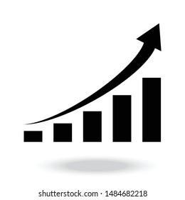 Growing bar graph icon vector