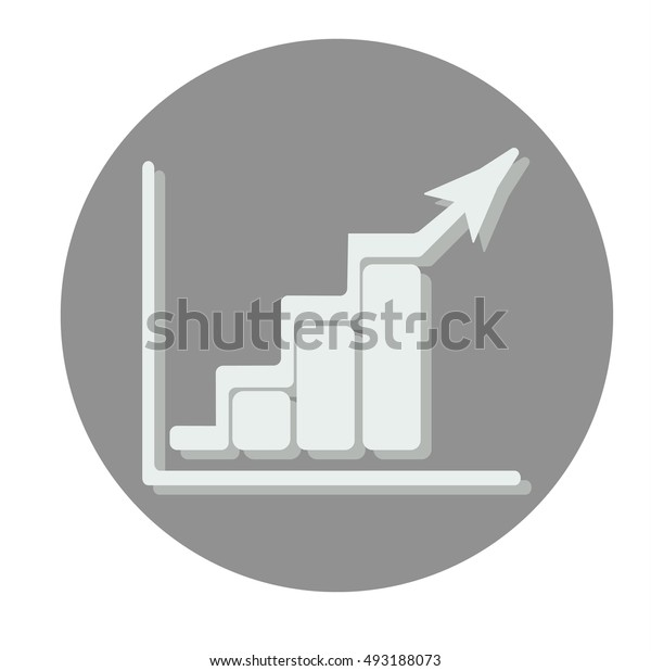 Growing bars graphic icon with rising arrow. Flat vector illustration. Gray circle.