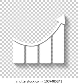 Growing bars graphic with rising arrow icon. White icon with shadow on transparent background
