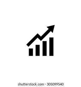 Growing bars graphic with rising arrow. Black simple vector icon