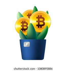 Growing bitcoin icon like flower, plant with leaves, vector illustration for banking, financial industry, cryptocurrency, economy, accounting, etc