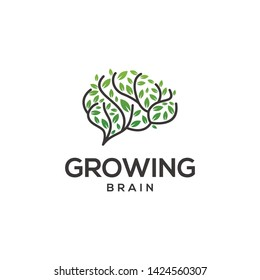Growing brain logo combination brain logo with tree logo