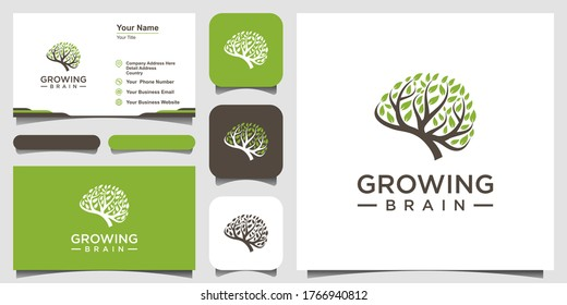 Growing brain logo combination brain logo with tree logo. business card design
