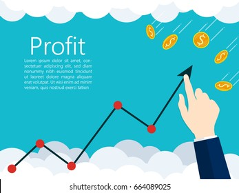growing business invest graph,hand pointing graph,gold coin falling from sky Vector