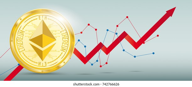 Growing chart with golden ethereum on the green background. Eps 10 vector file.
