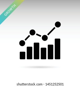 Growing chart solid Icon on white background. Vector isolated element.