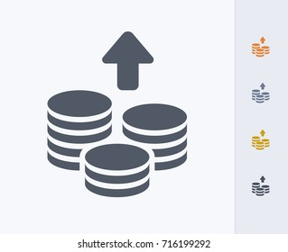 Growing Coin Stacks - Carbon Icons. A professional, pixel-aligned icon.
