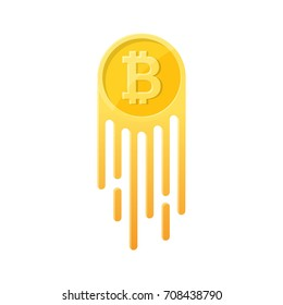 The growing cryptocurrency Bitcoin symbol on the isolated white background.Monetary unit on take-off.Design element in flat style.Vector illustration