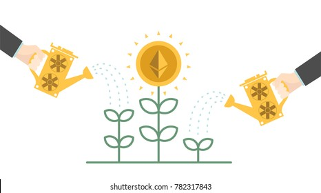 Growing ethereum symbol like a plant. Cryptocurrency mining concept. Hand watering money tree. Vector illustration for banking, financial industry, economy, accounting, logo, app, UI. EPS10.
