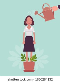 Growing female talent, business, personal development. Helping woman grow in plant pot, watering to support, make strong, healthy, professional growth, training. Vector flat style cartoon illustration