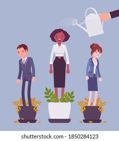Growing female talent from favorite employee. Helping one person grow in plant pot watering to support, make strong, healthy, give professional growth, training. Vector flat style cartoon illustration