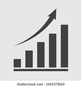 growing graph, bar chart, Flat icon isolated on the white background, flat design vector illustration.