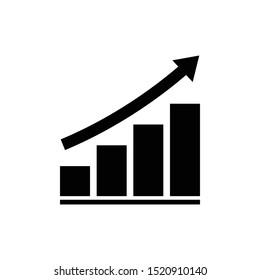 Growing graph bar chart icon symbol, Diagram flat design for web site logo app UI, Progress business concept, Vector illustration